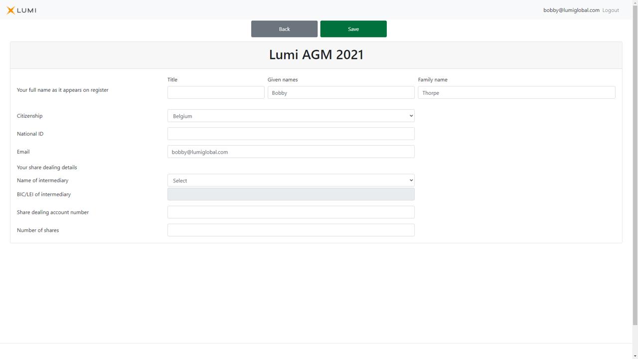 Local Account Participant Screen